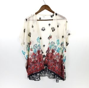 Love Tree Floral Short Length Kimono Large